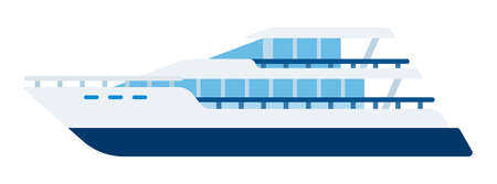 Motor yacht, fast ship for transporting people vector isolated.
