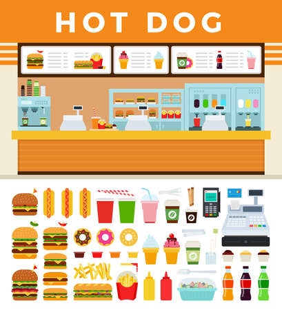 Fast food cafe with hot dog signboard vector illustration in a flat design.