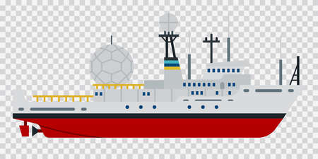 Illustration of a research vessel or expedition ship vector flat icon isolated