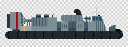 Vector image of an air cushion landing craft vector flat icon isolated