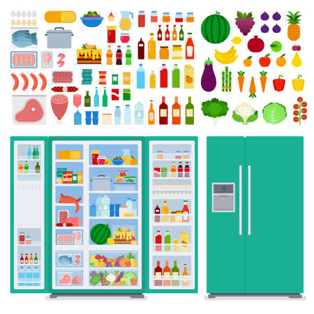 Image of a green refrigerator and food in and around it illustration in a flat design. Иллюстрация