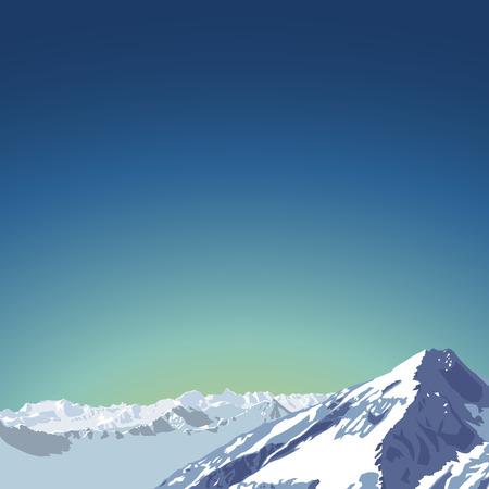 morning sky: mountains theme illustration. beautifull mountain landscape with morning sky background. Vector illustration. flat design.