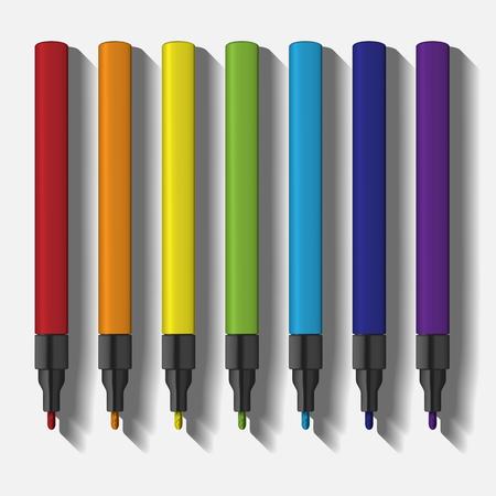 colors paint: paint marker pen set illustration. template of marker pens in rainbow colors. vector illustration.