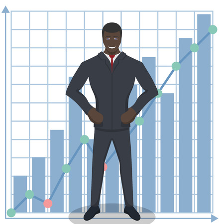knows: Business theme illustration. Young black businessman knows how to do business. This character is self-assured and ready for achievements.