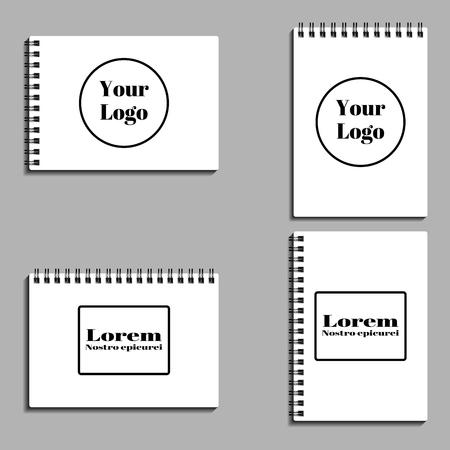 set of empty blank spiral notebooks. Vector illustration. EPS 10. Illustration