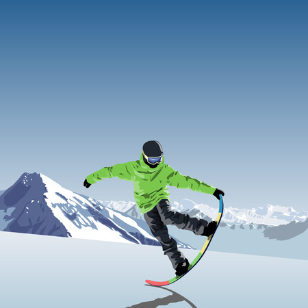 snowboarding theme illustration. Snowboarder makes trick tail block. mountains in the background. vector illustration. flat design.