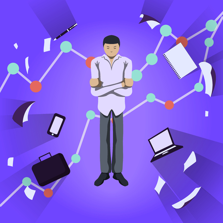 crossed arms: Business theme illustration. Young businessman standing with crossed arms and thinking about important matters. Infographics background. Illustration