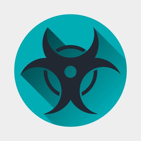 hazardous sign: Virus icon. Epidemic symbol. Flat style with soft long shadow. Vector illustration
