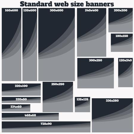 box size: Empty Box Standard size web banners set. Vector Web Banners Illustration