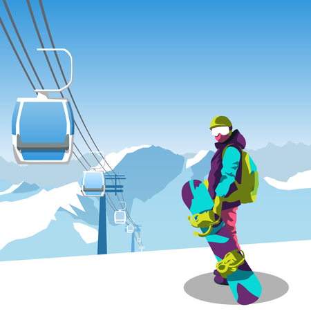 snowboard and ski resort theme illustration. Snowboarder stands in the mountains with snowboard. Mountains and sky on the background. Vector illustration on the theme of extreme and winter sports