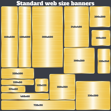 standard steel: set of standard size web banners. banners with realistic gold texture in rectangular and square forms. set of golden geometric vector banners made in material design style. vector illustration.
