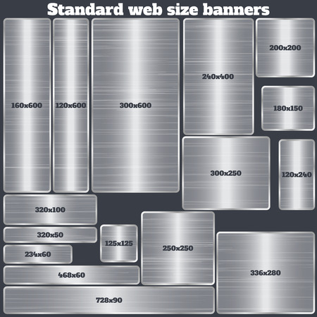 standard steel: set of standard size web banners. banners with realistic steel texture in rectangular and square forms. set of metallic geometric vector banners made in material design style. vector illustration.