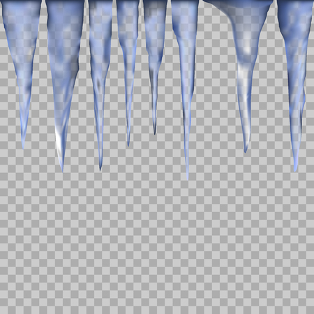 icicle elements. set of Isolated icy icicle on a transparent . ice elements for design and decoration of christmas greeting cards.