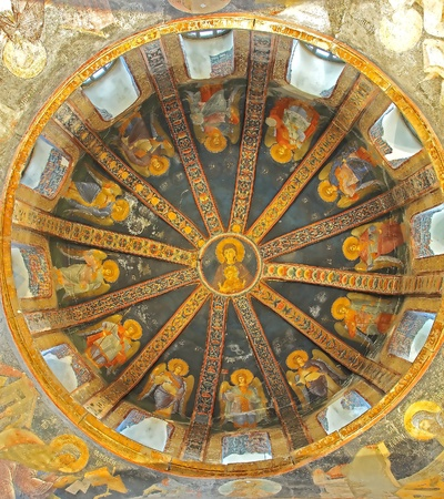 chora: The virgin and child in the Paracclesion of the byzantine church of saint Chora.  Stock Photo