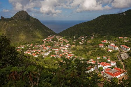 View of village from summit of tropical island of Saba