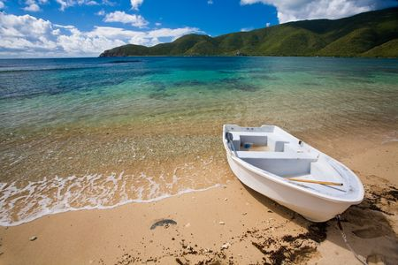 pristine coral reef: Small boat on the shore of a tropical island