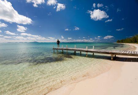 pristine coral reef: Giovane donna in piedi accanto a un bacino sul tropicale spiaggia di sabbia bianca e acque turchesi