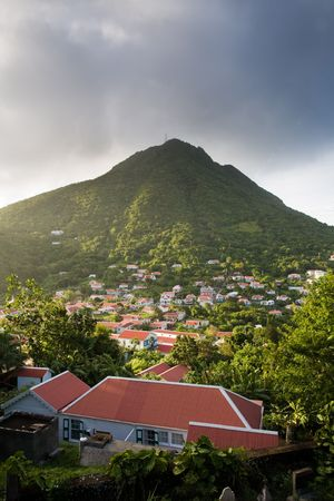 remoteness: Red-roofed houses of village on lush tropical island