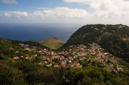 View of village from summit of tropical island
