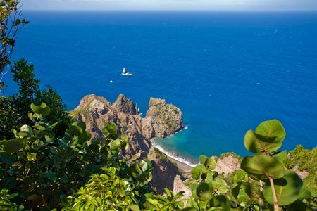 remoteness: View of turquoise coast from heights of remote tropical island