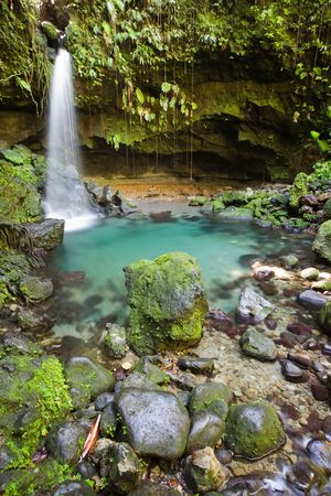Spectacular waterfall and pool on lush tropical island Stock Photo - 2774645