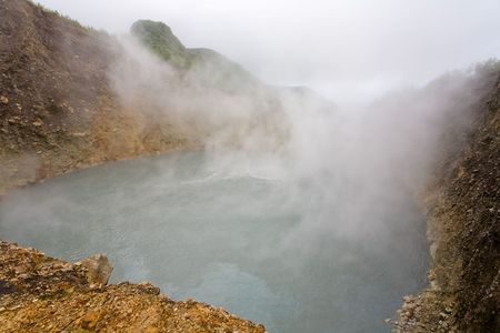 boiling: Remote boiling lake on tropical island