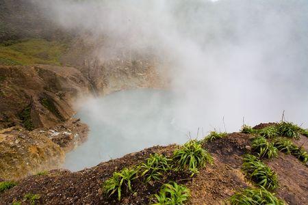 Remote boiling lake on tropical island
