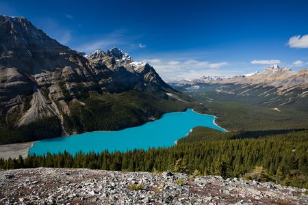 Majestic glacier-fed Peyto Lake in the Rocky Mountains, Banff National Park, Alberta, Canada. Stock Photo