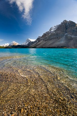 Majestic glacier-fed Bow Lake in the Rocky Mountains, Banff National Park, Alberta, Canada. Stock Photo - 3917593