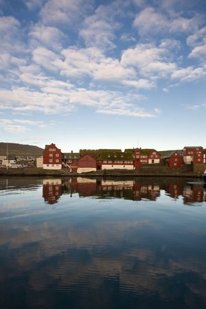 Thatched roofed houses on the waterfront, Torshavn, Faroe Islands, Scandinavia Stock Photo