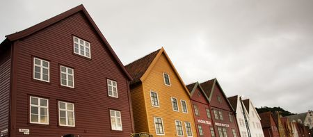 Old colorful buildings in Bergen, Norway, Scandinavia Stock Photo