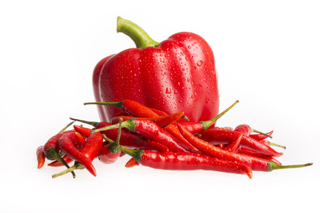 Bell pepper, chilies,isolated on white background photo