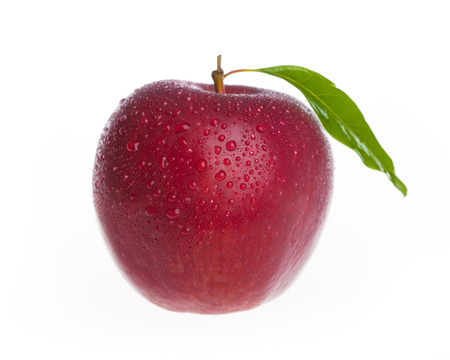 An fresh apple with leaf isolated on white background photo