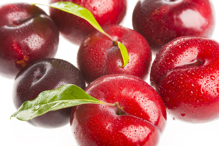 Red plums isolated on white background photo