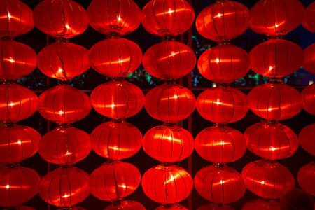 folkways: Beautiful Chinese red lamp hanging at night.