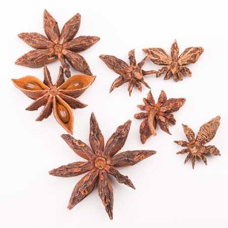 badian: Close up view of star Anise isolated on white background.