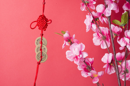 copper coin: Pink plum blossom iaolated on red background.