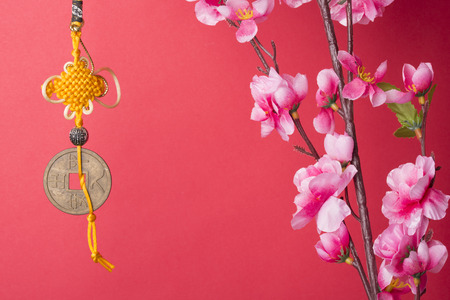 copper coin: Chinese new years decoration for Spring festival Stock Photo