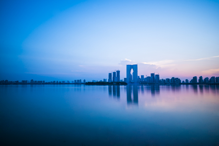 Jinji Lake Scenic in summer evening. Stock Photo