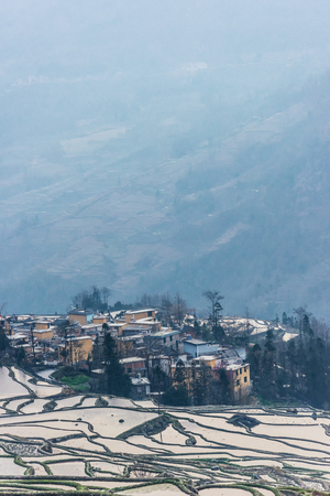 Landscape scenery view of Yuanyang Terrace Stock Photo