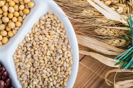 View of multi grains on a bamboo mat Stock Photo