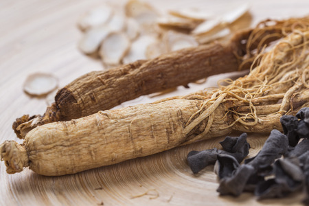 Ginseng, American ginseng and edible fungus Stock Photo