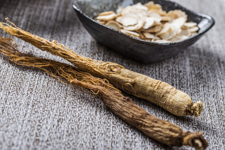 Ginseng and American ginseng close up view Stock Photo