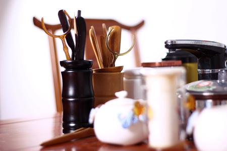Tea set on table top Stock Photo
