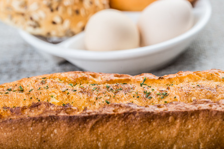 energy needs: Western style breakfast with bread and eggs
