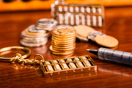 The abacus and money Stock Photo