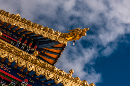 temple eaves with blue sky Stock Photo