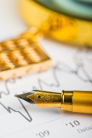Data diagrams with golden tools Stock Photo