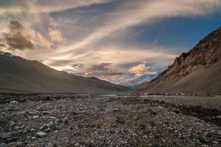 Landscape scenery view of Mount Qomolangma Park Mount Everest