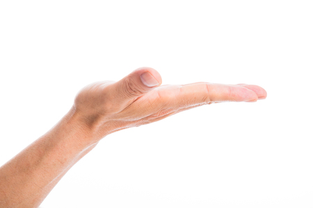 Hand gesture on white background Stock Photo